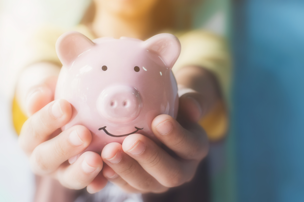 A person is holding a piggy bank in his/ her hands.
